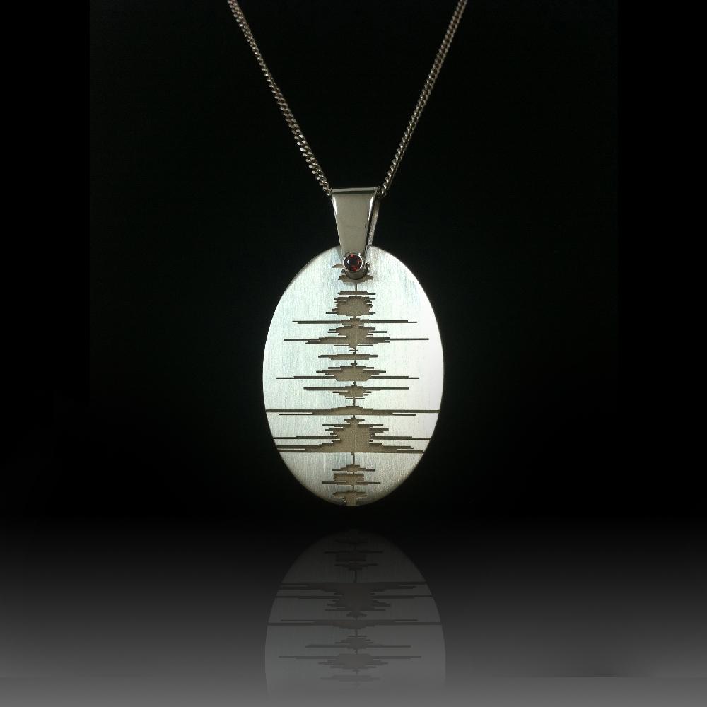 Custom Soundwave Necklace Sterling Silver Soundwave