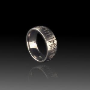 stainless steel jewelry, soundwave ring, men's wedding ring, alternative wedding band, bridal, custom, music, voice recording ring