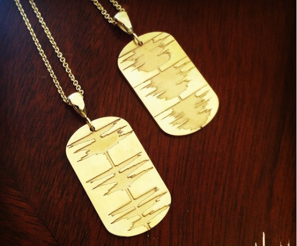 Custom Soundwave Necklace Gold