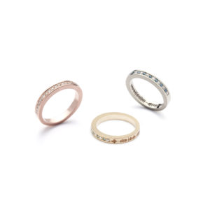 SoundWave Engagement Diamond Ring Eternity Band Wedding Yellow White Rose Gold