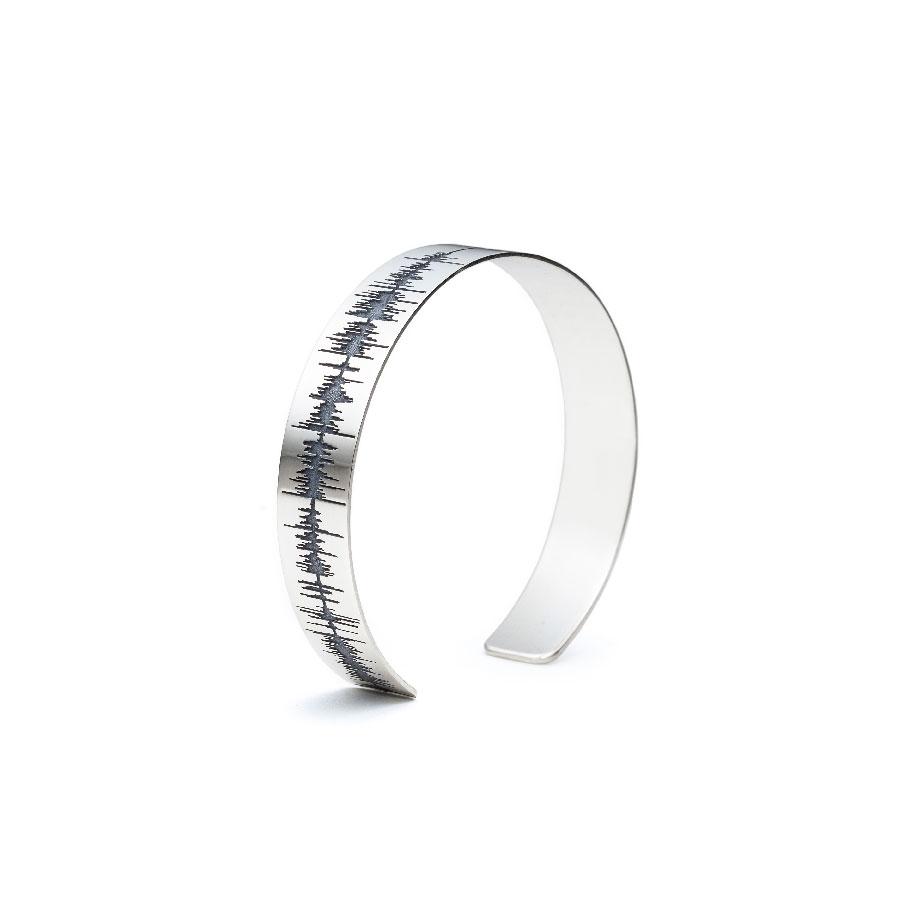 Custom Soundwave Bracelet Cuff – Sterling Silver