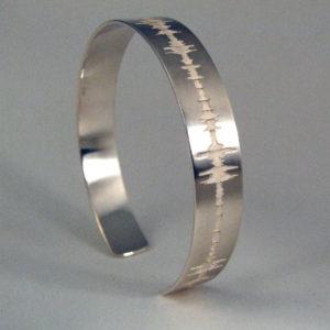Custom Soundwave Bracelet Cuff Sterling Silver