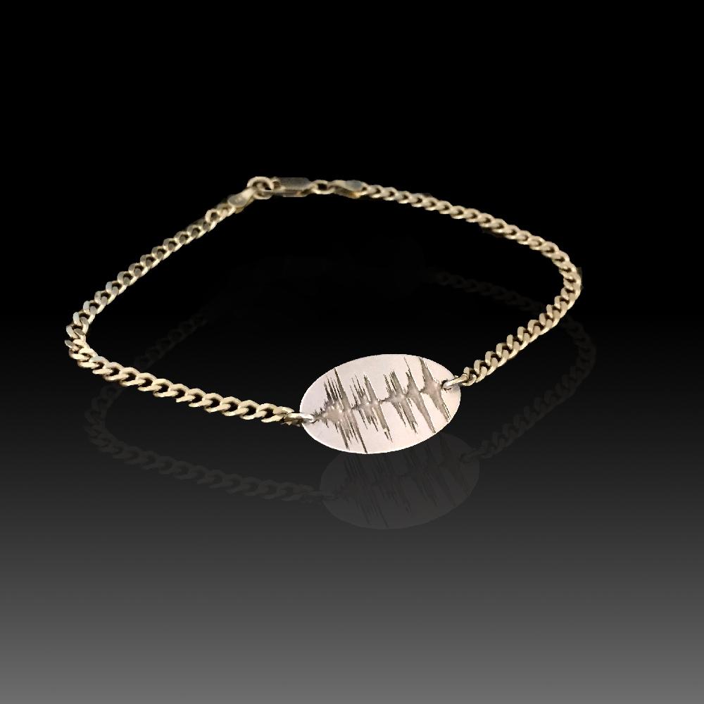 Previous Next Custom Soundwave Bracelet Sterling Silver Gold